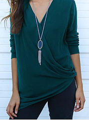 Autumn Spring  Cotton Polyester  Women  V-Neck  Plain Long Sleeve T-Shirts