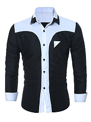 Turn Down Collar  Color Block Men Long Sleeve Shirts