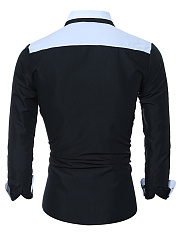 Turn Down Collar  Color Block  Cuffed Sleeve  Long Sleeve Long Sleeves