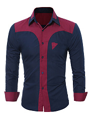 Turn-Down-Collar-Color-Block-Men-Long-Sleeve-Shirts