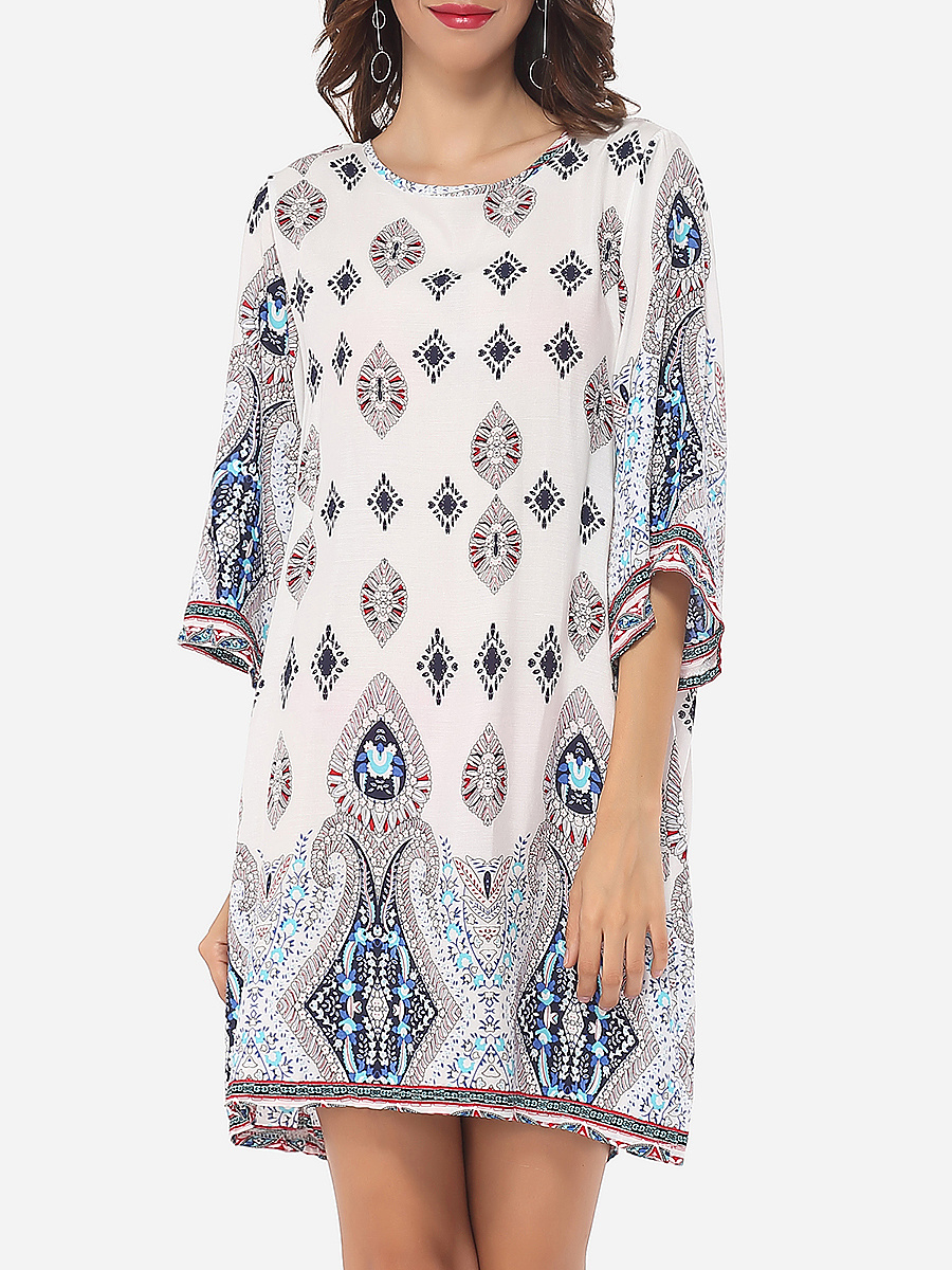 Tribal Printed Round Neck Back Hole Shift Dress