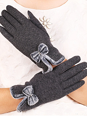 Elegant Thick Woolen Bowknot Decoration Cotton Gloves