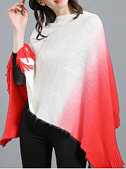 Tassel  Color Block Cape