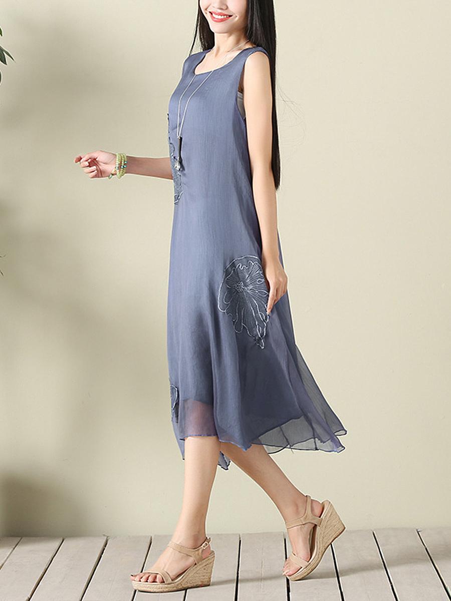 Round Neck  Applique Plain Maxi Dress