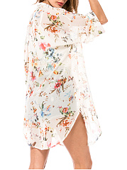 Snap Front  Curved Hem  Printed Kimono