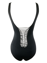 Hollow Out Solid One Piece In Black