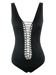 Hollow-Out-Solid-One-Piece-In-Black