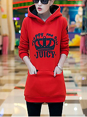 Hooded  Slit Pocket  Color Block Printed  Long Sleeve Hoodies