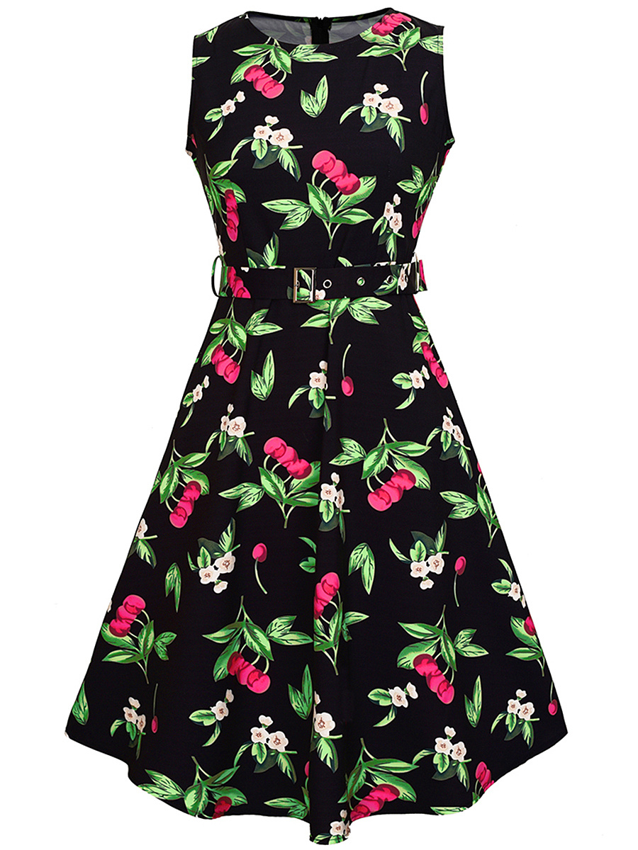 Round Neck Belt Cherry Printed Sleeveless Skater Dress