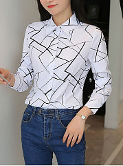 Autumn Spring  Cotton  Women  Turn Down Collar  Geometric  Long Sleeve Blouses