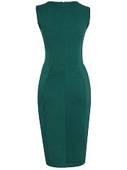 Office Solid Slit Two-Piece Bodycon Dress