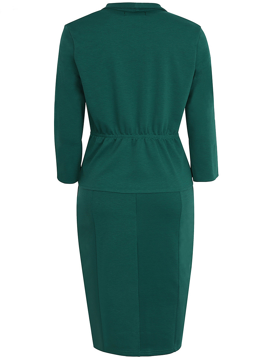 Office Solid Slit Two-Piece Bodycon Dress. Office ...