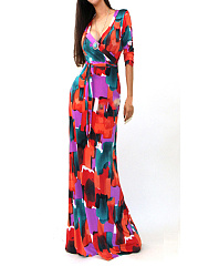 V-Neck  Belt  Printed Date Maxi Dress