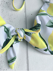Tied Lemon Print Bikini Set
