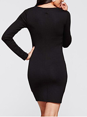 Basic  Round Neck  Casual Midi Color Block Shift Dress