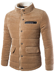 High-Neck-Flap-Pocket-Plain-Men-Corduroy-Coat