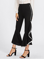 Contrast Trim Flounce Flared Casual Pants