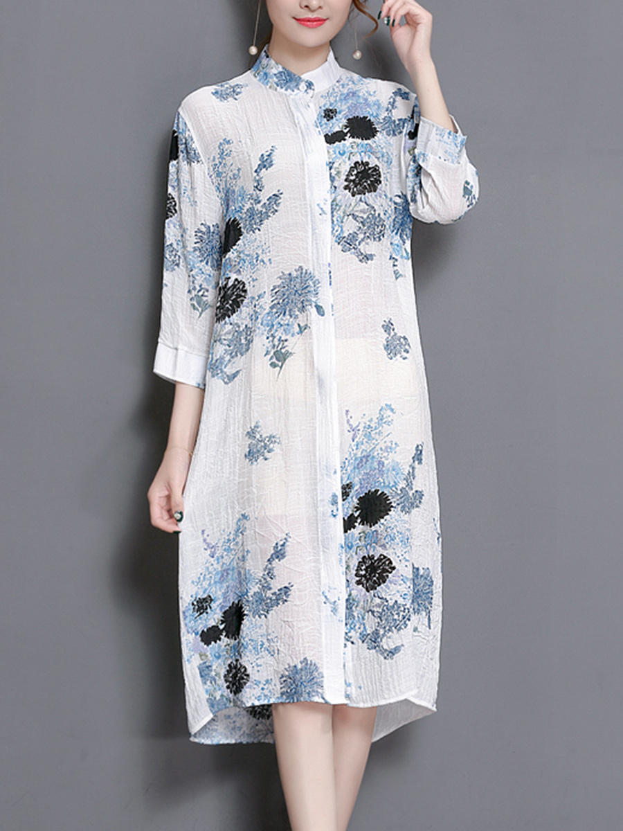 Band Collar  Printed Midi Shift Dress