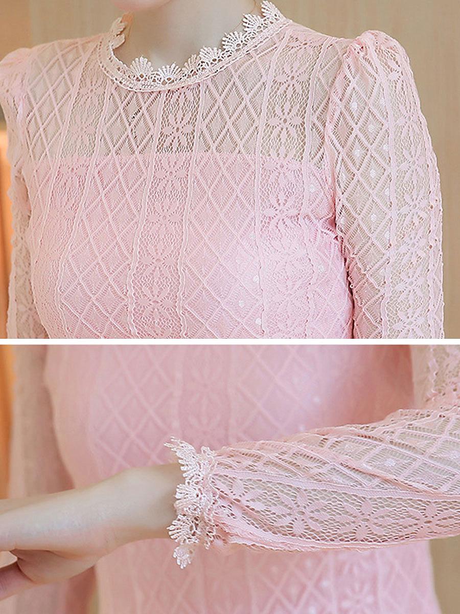Autumn Spring  Lace  Women  Round Neck  Plain  Long Sleeve Blouses