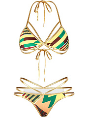 Halter-Contrast-Trim-Printed-Alluring-Strappy-Bikini