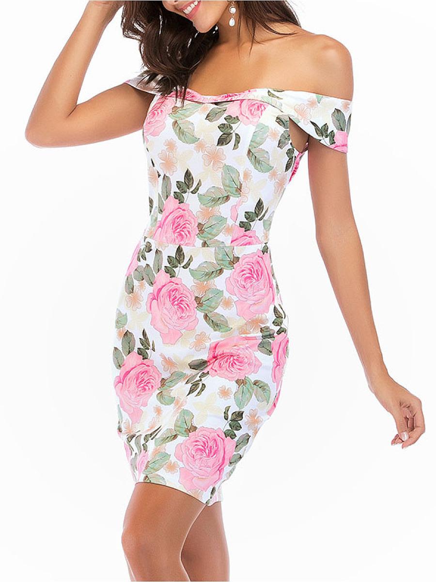 Open Shoulder  Floral Bodycon Dress