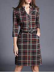 Band Collar  Slit Pocket  Decorative Button  Plaid Bodycon Dress