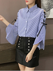 Autumn Spring  Spandex  Women  Fold-Over Collar  Drawstring  Removable Tie  Hollow Out Striped  Bell Sleeve  Long Sleeve Blouses