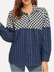 Turn Down Collar  Loose Fitting Patchwork  Checkered Blouses