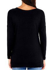 Round Neck  Decorative Buttons Loose Fitting  Plain Long Sleeve T-Shirts