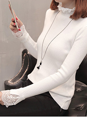 High Neck  Decorative Lace  Plain  Long Sleeve Sweaters Pullover