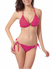 Halter  Ruffle Trim  Plain Triangle Bikini