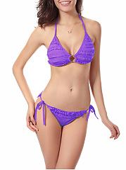 Halter-Ruffle-Trim-Plain-Triangle-Bikini