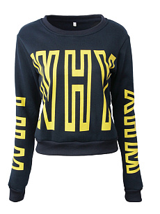 Crew Neck  Printed  Long Sleeve Sweatshirts