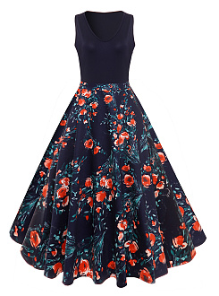 V-Neck Summer Floral Printed Vintage Skater Dress