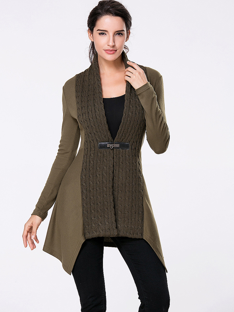 Collarless Patchwork Single Button Plain Cardigans