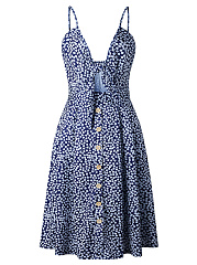Spaghetti Strap Bowknot Cutout Printed Skater Dress