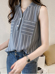 Summer  Polyester  Women  V-Neck  Patch Pocket  Decorative Button  Striped  Sleeveless Blouses