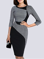 Round Neck  Colouring Houndstooth Bodycon Dress