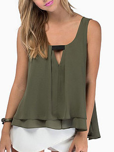 Summer  Polyester  Women  Round Neck  Asymmetric Hem Lightweight  Plain  Sleeveless Blouses