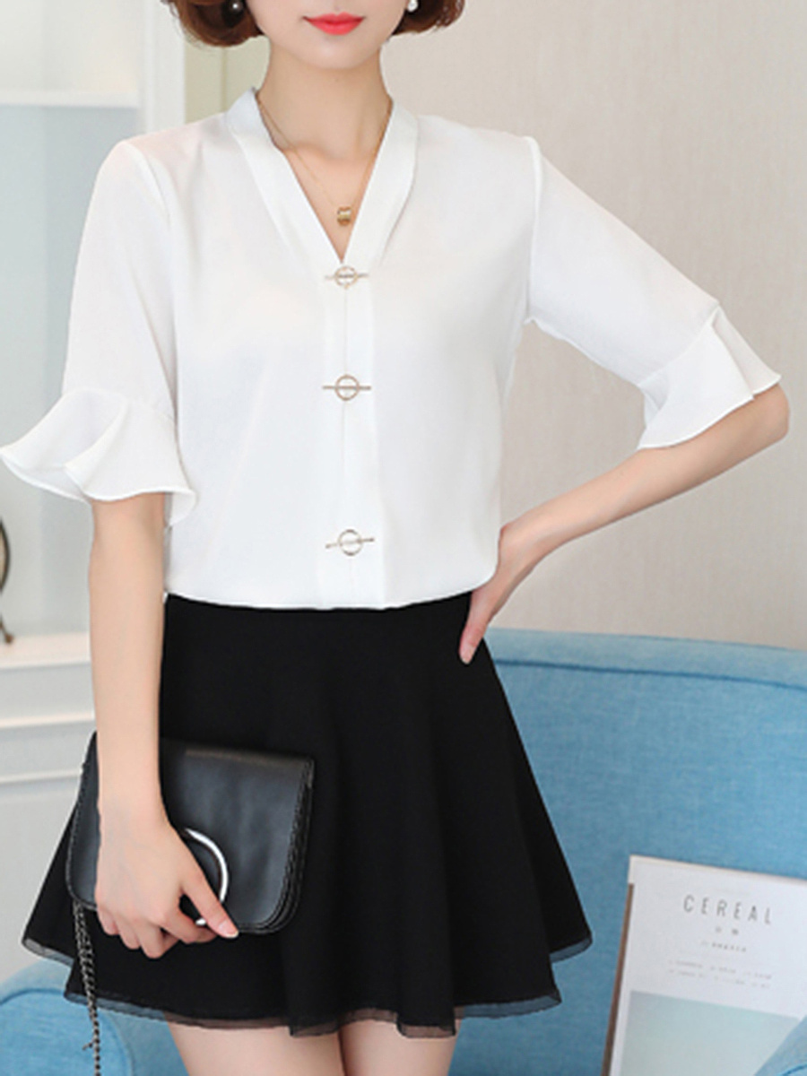 V-Neck Plain Chiffon Bell Sleeve T-Shirt