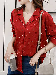 Button Down Collar  Loose Fitting  Dot Blouses