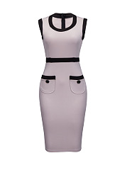round neck contrast trim pocket split bodycon dress