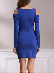 Surplice  Plain  Off Shoulder  Bodycon Dresses