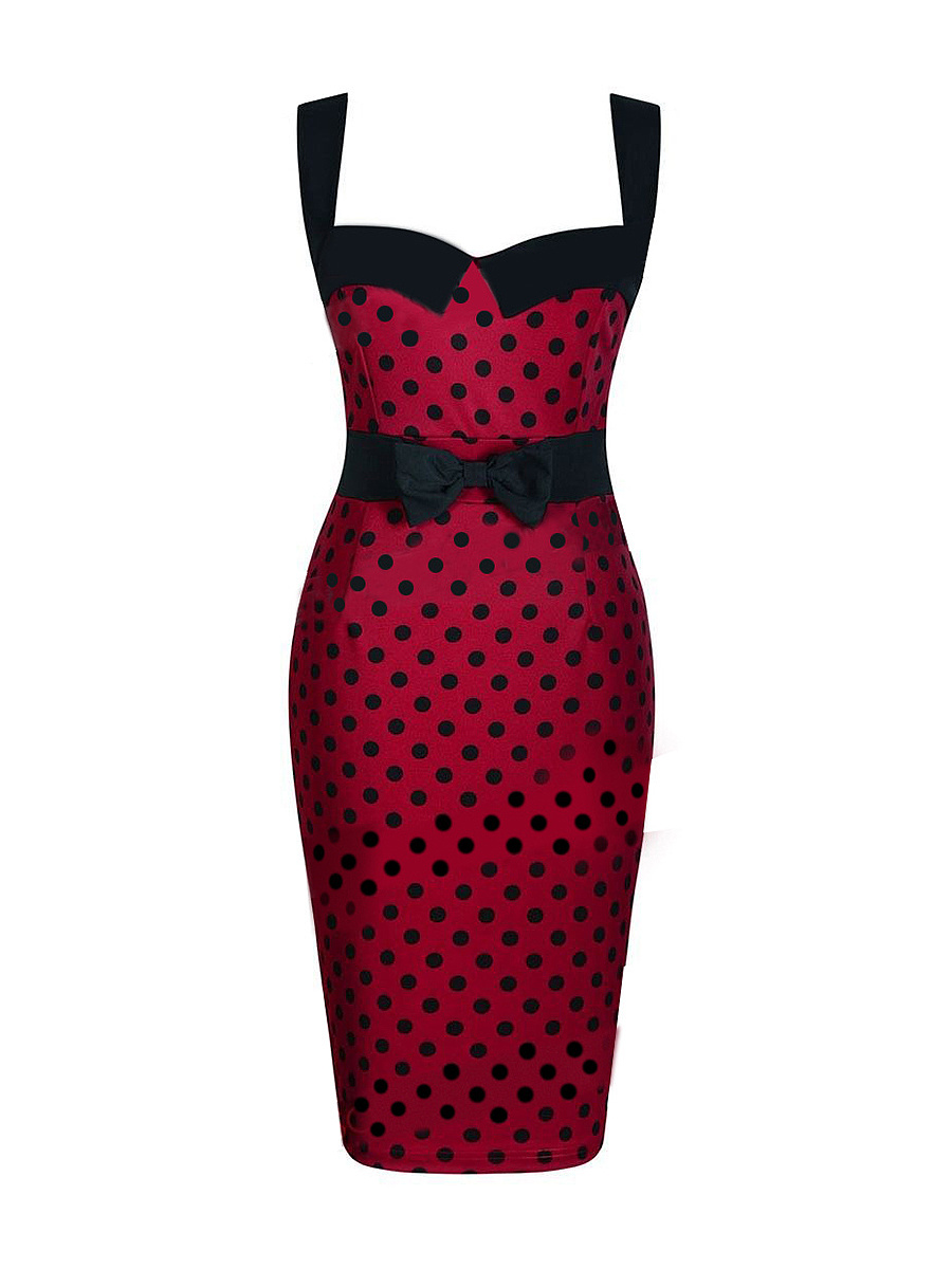 Vintage Chic Bowknot  Polka Dot Bodycon Dress