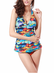 Halter-Multi-Color-Printed-Swimwear