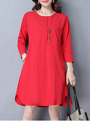 Midi Round Neck Basic Plain Shift Dress