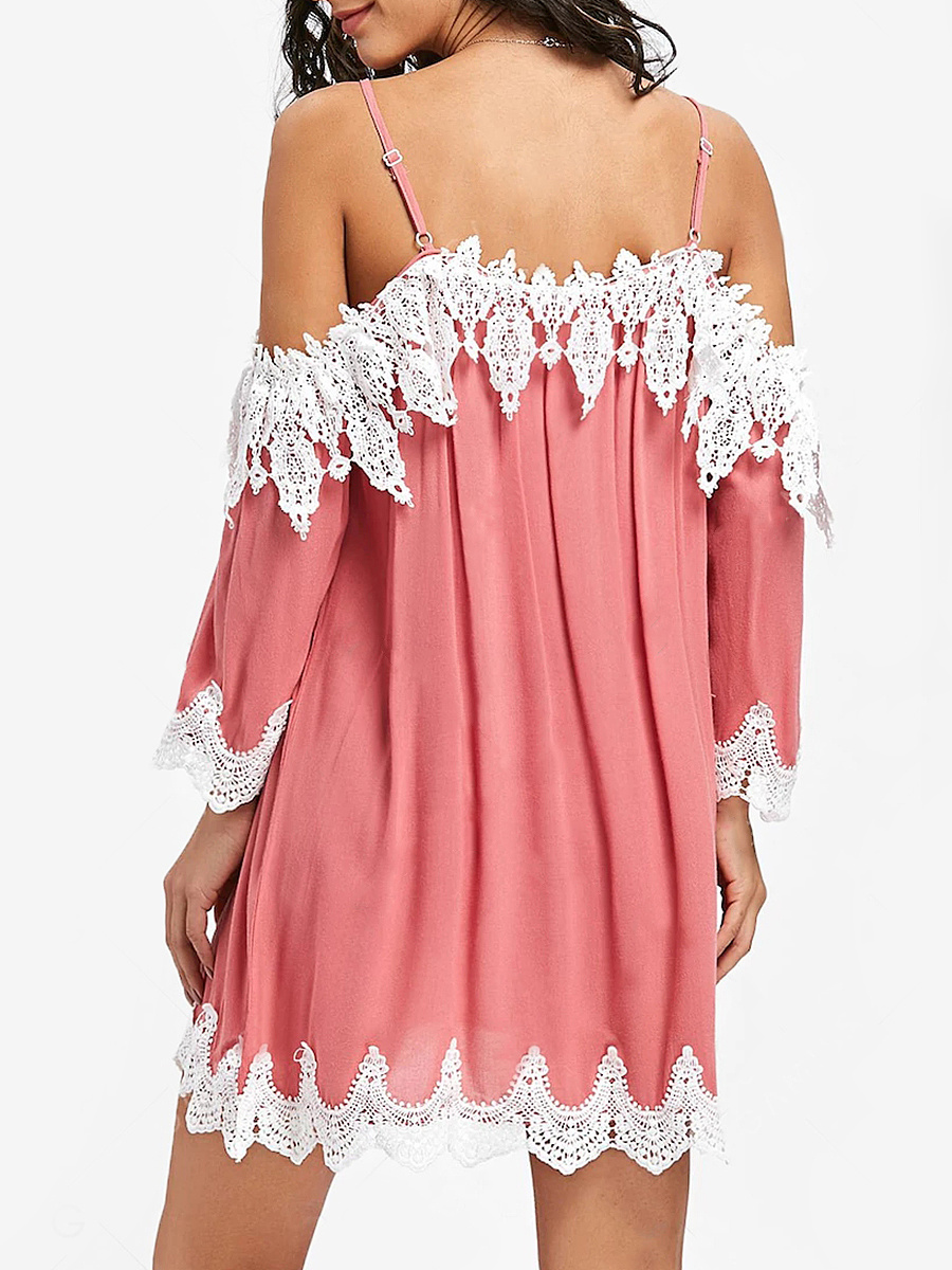 Spaghetti Strap  Decorative Lace  Plain Shift Dress