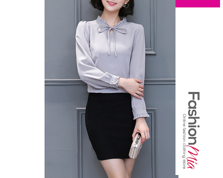 material:chiffon, collar&neckline:tie collar, sleeve:long sleeve, more_details:keyhole, pattern_type:plain, occasion:basic*office, season:autumn*spring, package_included:top*1, how_to_wash:hand wash only, length:57,shoulder:35,sleeve length:55,bust:90,