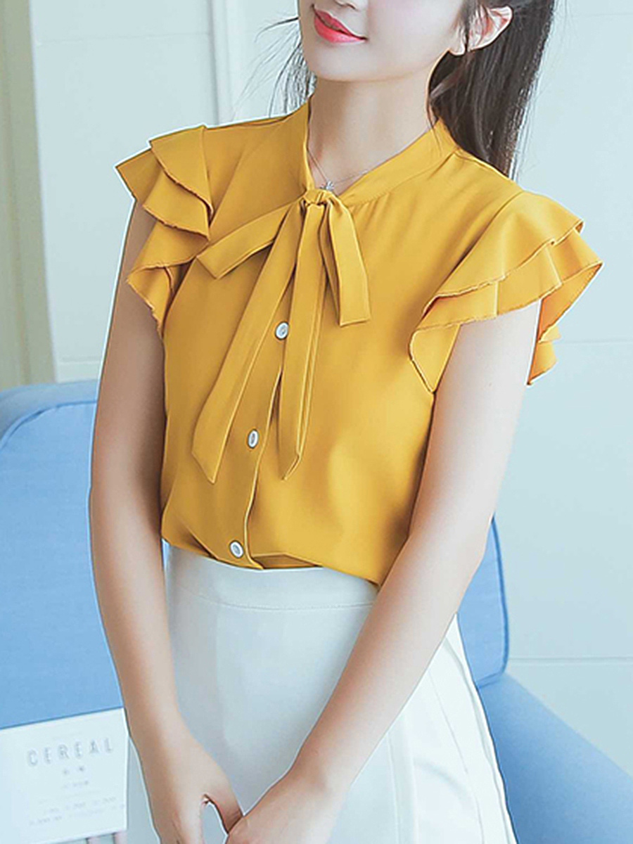 Tie Collar  Plain Frill Sleeve Blouse