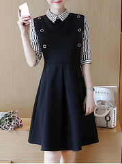 Fold Over Collar  Patch Pocket  Color Block Skater Dress